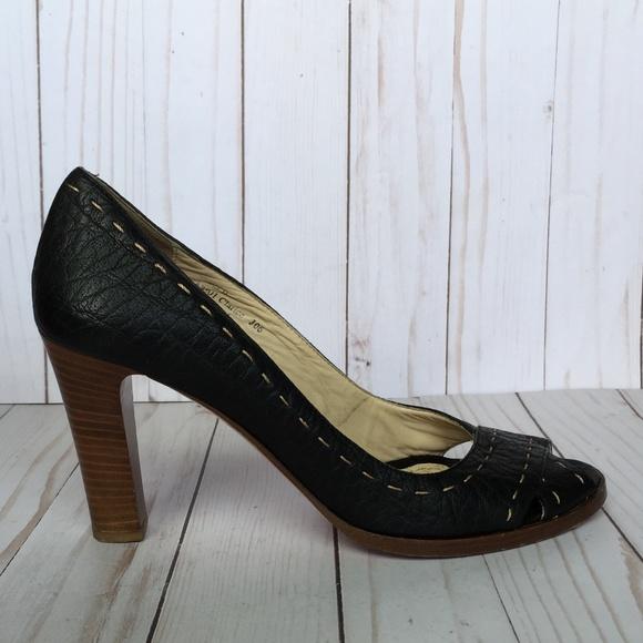 7e0153ef46c Coach Shoes - Coach  Clarice  Black   Tan Peep-Toe Heels